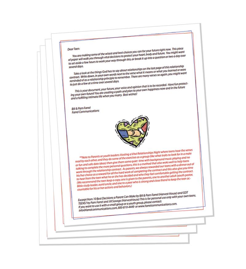 Parent Teen Contract >> Teen Relationship Contract